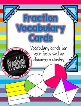 Fraction Vocabulary Cards FREEBIE!