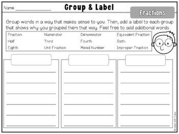 Fraction Vocabulary Cards and Word Work Activities