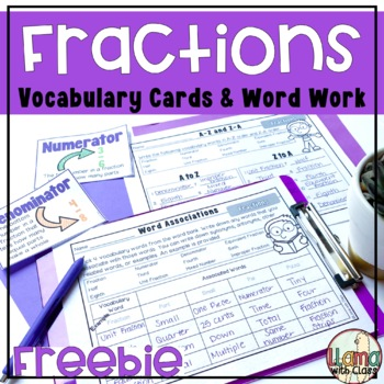 Fractions Vocabulary Cards and Word Work Activities