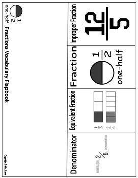 Fraction Vocabulary Flapbooks