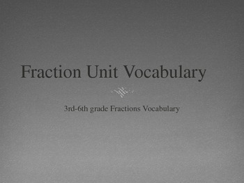 Fraction Vocabulary Unit Power Point