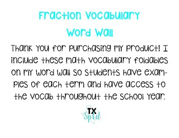 Fraction Vocabulary Word Wall