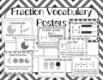 Fraction Vocabulary Word Wall Engage NY Grade 4 Focus Wall Black and White