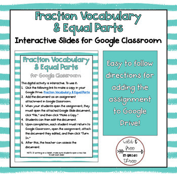 Fraction Vocabulary and Equal Parts Interactive Activity for Google Classroom