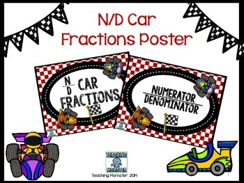 Fraction Vocabulary poster ND Race Cars