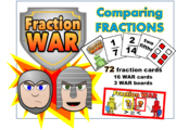 Fraction WAR (pictures, words, fractions) - compare and eq