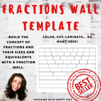 fractions wall template by teaching with happy feet  tpt