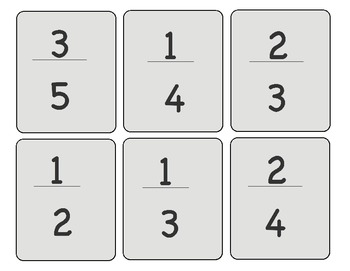 Fraction War Card Game for Elementary / Middle School