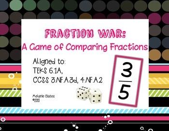 Fraction War:  A Game of Comparison Gr 3/4/5/6