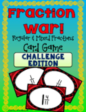Fraction War! CHALLENGE EDITION Comparing Fractions Card Game