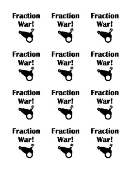 Fraction War Card Game with Pictures