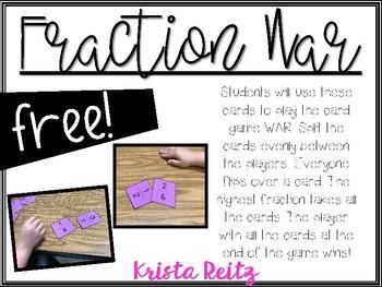 Fraction War Freebie {Comparing Fractions}