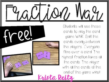 Fraction War Freebie {Comparing Fractions}