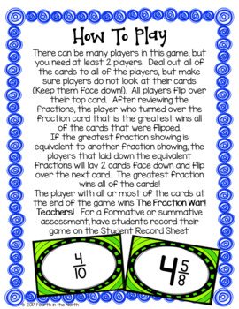 Fraction War!  Comparing Fractions Card Game