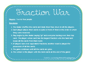 Fraction War - Math Center