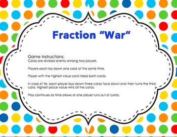 "Fraction ""War"" card game center (Comparing fractions)"