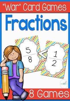"Fraction ""War"" card game center (Comparing fractions)"