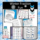 Fraction Winter Fun Worksheets | 3rd-4th Grade Fraction Skills | 6 sheets