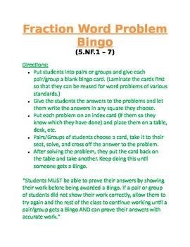 Fraction Word Problem Bingo