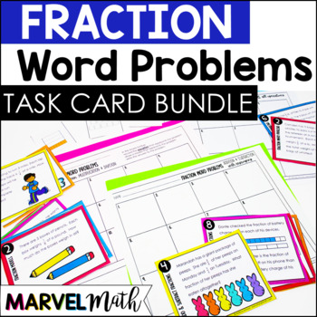 Fraction Word Problem Bundle: 72 task cards to add, subtract, multiply & divide