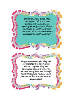 Fraction Word Problem Cards
