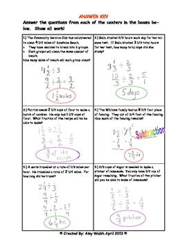 Fraction Word Problem Division Centers - Grade 6 - With Answer Key