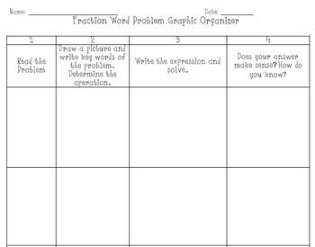Fraction Word Problem Graphic Organizer