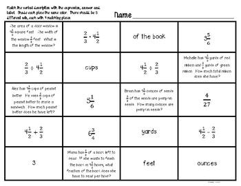 Fraction Word Problem Match Up