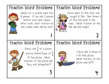 fraction word problem task cards by ashleigh teachers pay teachers. Black Bedroom Furniture Sets. Home Design Ideas