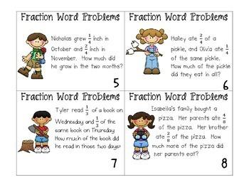 Fraction Word Problem Task Cards by Ashleigh   Teachers Pay Teachers