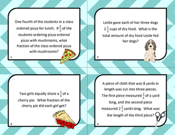 Fraction Word Problem Task Cards - Mixed Operations