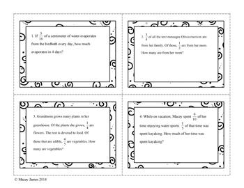 Fraction Word Problem Task Cards - Multiplication