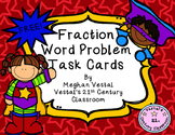 Fraction Word Problem Task Cards: Superhero Theme