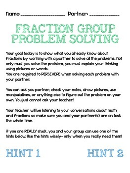 Group Work- Fractions