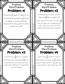 Adding and Subtracting Fractions Word Problems (5th Grade Fractions ...