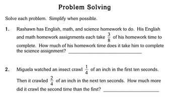 Fraction Word Problems, 4th grade - worksheets - Individualized Math