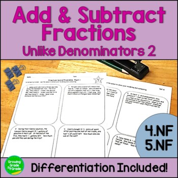 Add and Subtract Unlike Denominators Fraction Worksheets:PACK #2 Differentiation