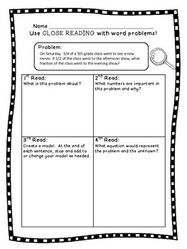 5th Grade Fraction Word Problems - Close Reading!