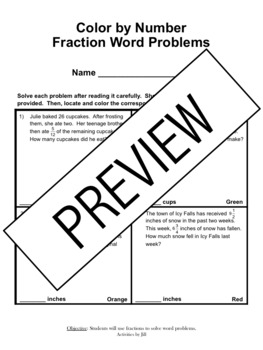 Fraction Word Problems Color by Number