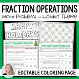 Fraction Operations Word Problems Coloring Page