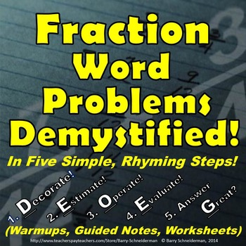 Fraction Word Problems Unit - Method, Warm-ups, Notes, Worksheets