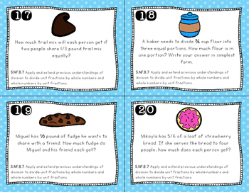 Fraction Word Problems - Division Task Cards (Fifth Grade)