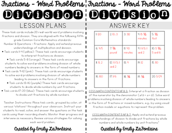 Fraction Word Problems - Division Task Cards (Fifth Grade, Common Core)