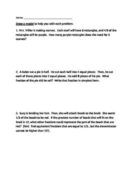 Fraction Word Problems - Draw a Model