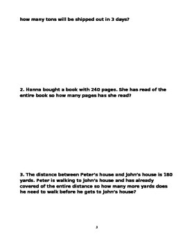 6th grade Fraction Word Problems  volume 1