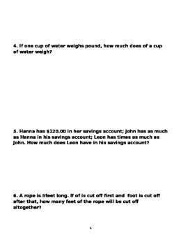6th grade  Word Problems  volume 1, with answer keys