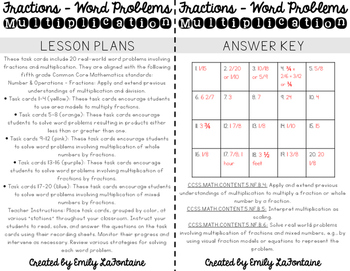 Fraction Word Problems - Multiplication Task Cards (Fifth Grade)