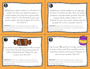 Fraction Word Problems - Multiplication Task Cards (Fifth Grade, Common Core)