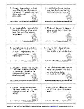 Fraction Word Problems - Pass Around