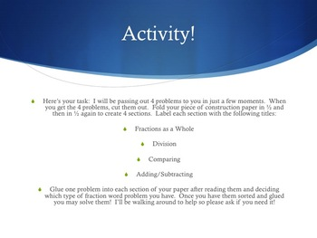Fraction Word Problems PowerPoint Presentation (Common Core Aligned)